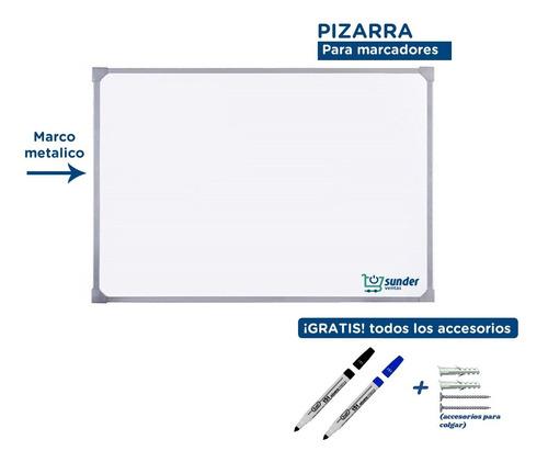 Imagen 1 de 7 de Pizarra Blanca 75x100 Borde Metal + 2 Marcadores