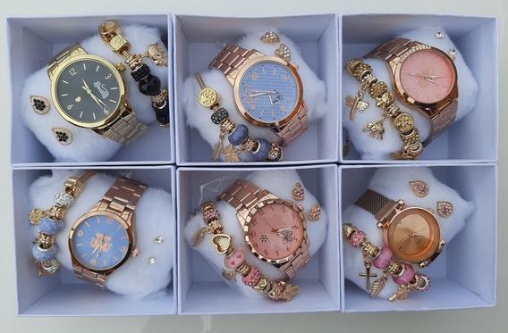 Kit Relógio Feminino Barato Pulseira Brinco E Caixinha