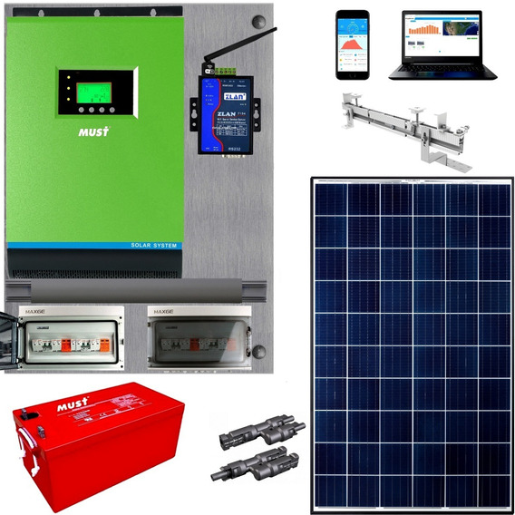 Must Kit Solar Completo 10900w/dia Hibrido - Inverter 3kw / 6kw Picos -tablero (easy Connect) Reg Mppt 80a Wifi Mh10-3