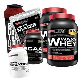 Kit 2x Whey Protein + Bcaa + Creatina + Waxy Maize + Shaker