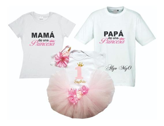 Conjunto Tutú Primer Cumpleaños Con Playeras De Mamá Y Papá