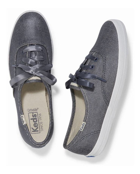 Sneakers Keds Matte Brushed Metallic Blue Con Accesorios