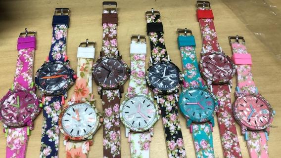 10 Relógios Feminino Silicone Flor Da Moda + Caixa Acrilico
