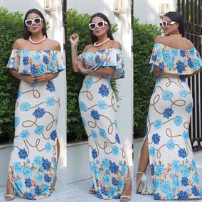 5c05afc8a3 Vestido Floral Estampa Girassol - Vestidos Longos Femininas Azul ...