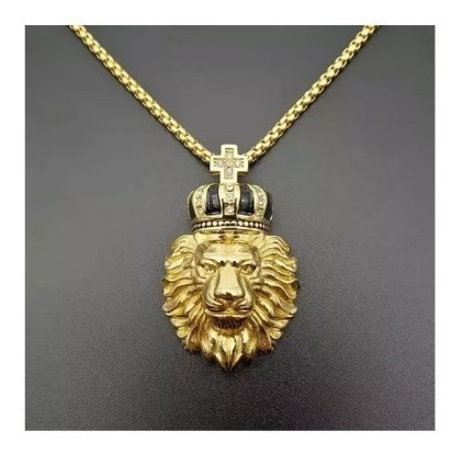 Colar Masculino Dourado Titânio Banho Ouro 18k Leão Coroa