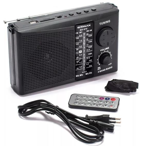 Mini Rádio Fm Portátil Recarregável Am Sw Mp3 P2 Preto Nf