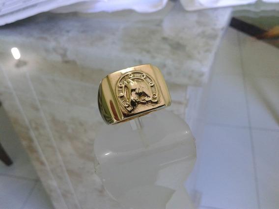 Anel Cavalo Mangalarga Machador De Moeda Antiga Banhado Ouro