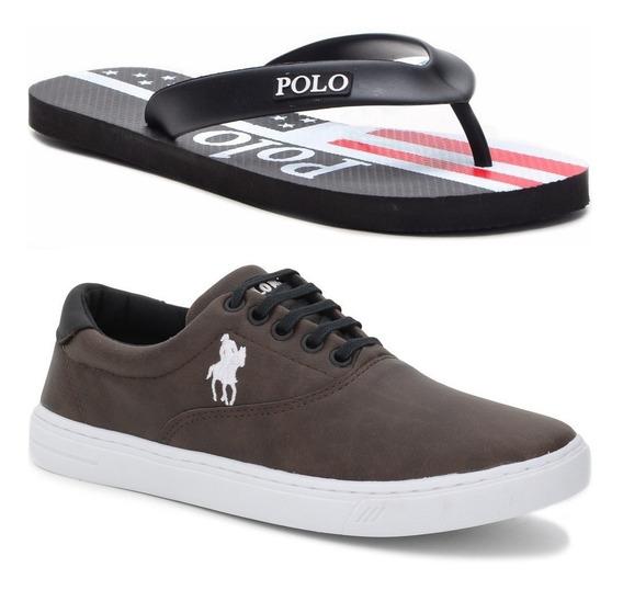 Kit Chinelo Masculino Polo + Tênis Casual Polo Plus Original