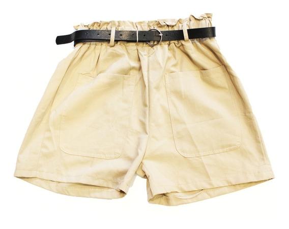 Short Gabardina Con Cinto Simil Cuero (varios Colores) 8894