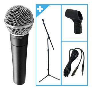 Combo Microfono + Soporte + Cable Canto Karaoke Instrumento