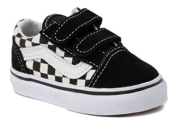 Tenis Vans Old Skool Chekboard Negro Blanco Bebes Niños