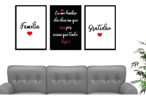 Kit 3 Quadros Decorativo Familia Gratidão Oração Sala Quarto