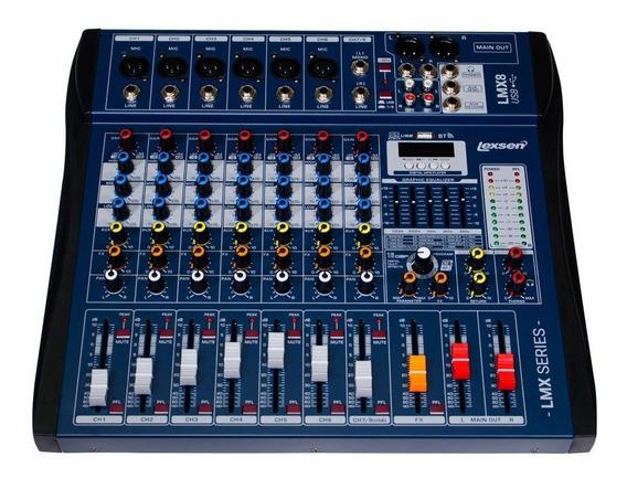 Mesa De Som 8 Canais Lmx8usb Lexsen Efeitos E Interface Nfe
