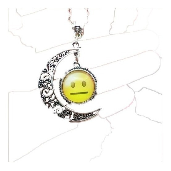Corrente Cabochão Lua Emoji Emoticon I