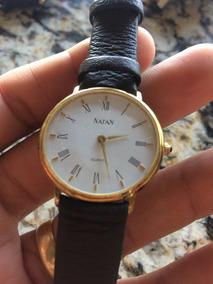 Relógio Natan Plaque Ouro Movimento Quartz