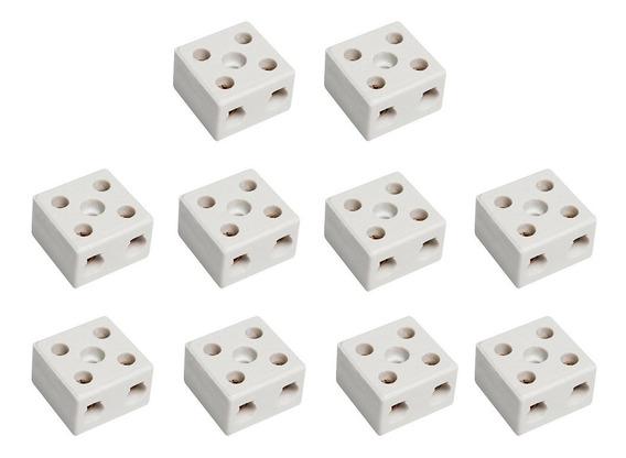 Isolador Conector Bipolar Em Porcelana 10mm ( Kit 10 Peças )