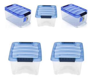Caja De Plastico Grande 5 Cajas Transparentes Organizador
