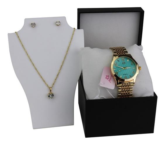 Relógio Feminino Dourado Azul Original Casual Colar + Brinco
