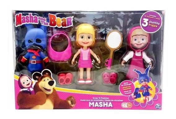Masha E O Urso - Boneca Masha Com 3 Roupas E Acessório Sunny