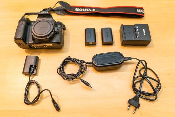 Camera Dslr Canon 70d - Ótimo Estado + 2 Baterias + Fonte