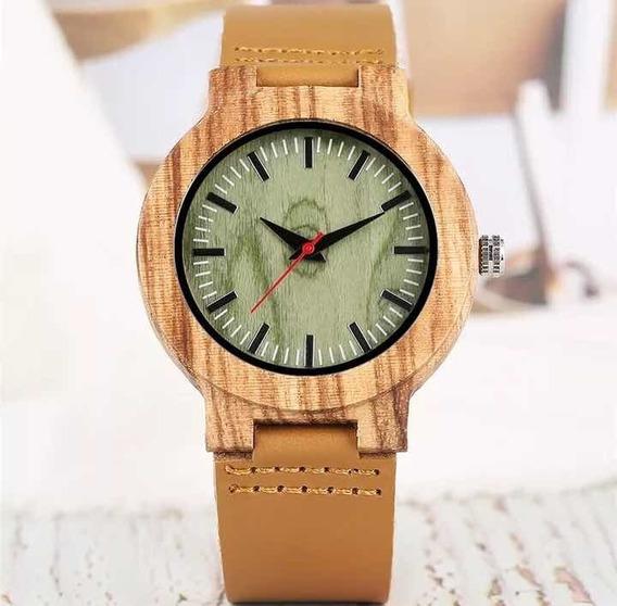 Relógio De Madeira Unissex Bambu