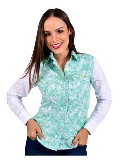 Camisa Mujer Porto Blanco Manga Larga Estampada
