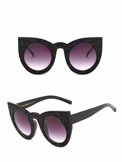 Kit 2 Oculos Gatinho Cat Eye Acetato Uv400 Strass Brilho