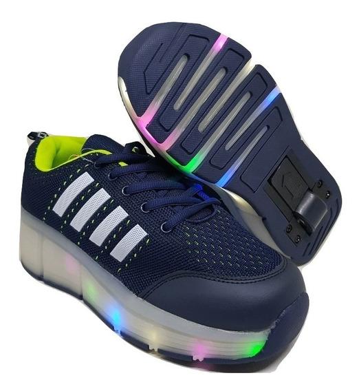 Zapatillas Con Rueda Y Luces Led Colore Varios Unixes E.grat