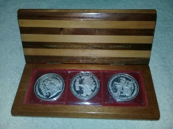 Set Monedas Onzas Plata 999 En Caja De Madera Guatemala