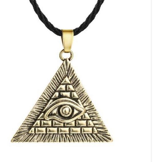 Colar Pirâmede Egípcio Olho Hórus Iluminati Cordão Ouro