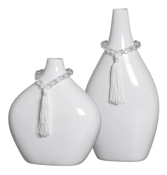 Par De Vasos Em Cerâmica Branco P/ Mesa De Centro Em Sala