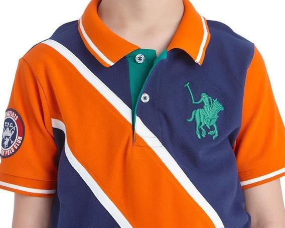 Playera York Team Polo Club Estamp Azul Linea Naranja Niño