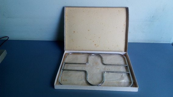 Antigo Descanso De Mesa/panela Em Inox Na Caixa Original