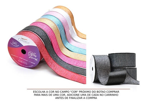 Rolo Fita De Cetim Lurex Brilho 38mm 10 Metros P/ Laços Arte