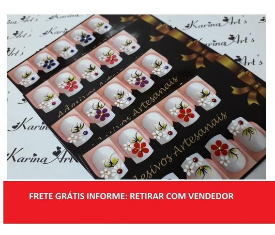 100 Adesivos De Unha Artesanais (kit 10 Cartelas)