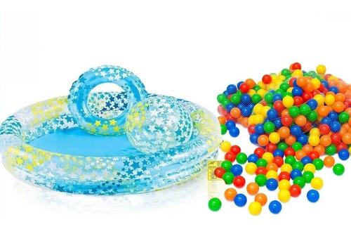 Set Piscina Inflable Intex + Balón + Flotador + 100pelota