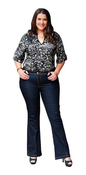 Calça Jeans Flare Plus Cintura Alta