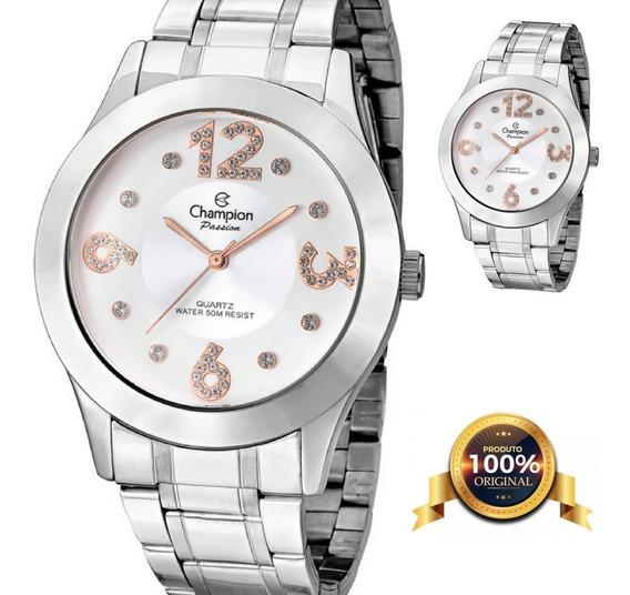 Relógio Feminino Grande Passion Prateado Cn29178q