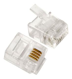 Plug Conector Rj11 Telefone 4 Contatos - Pacote 100 Pçs