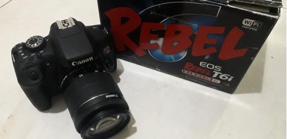 Câmera Canon T6i Com Lente 18 55 E Caixa