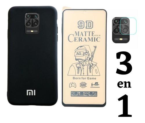 Estuche Forro En Silicona + Cerámica + V.c Xiaomi Note 9s
