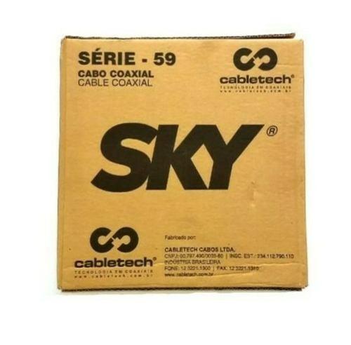Promoção Caixa De Cabo Coaxial Rg59 100 Metros Bobina Sky