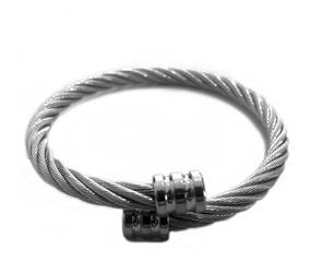 Bracelete Pulseira Cabo De Aço Inoxidavel Luxo Prateado