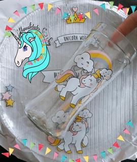 Set Plato Mas Vaso Unicornio Dia Del Niño#