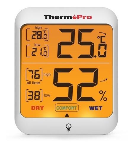 Imagen 1 de 9 de Termómetro Higrómetro Digital Thermopro Tp-53 Mide Humedad