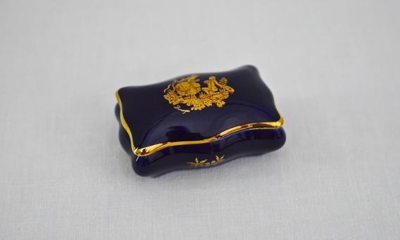 Pastillero Porcelana Limoges Azul Cobalto Oro Con Escena