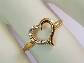 Anel De Coração Vazado Galeria Em Ouro 18k Metade Zirconia