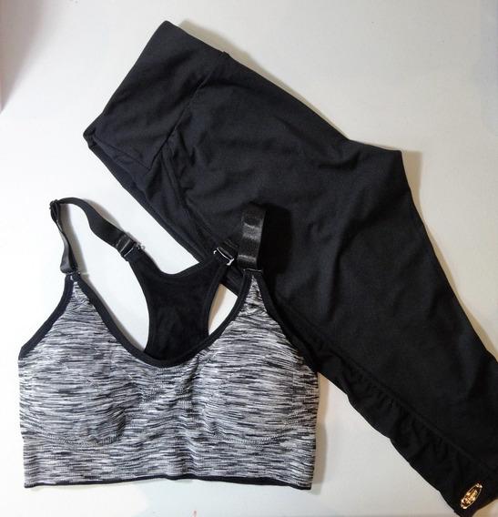 Conjunto Dama Fitness Negro Y Blanco. Top Y Legging