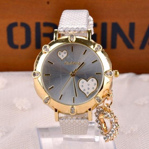 Relógio Feminino Pulseira Pingente De Coração Importado