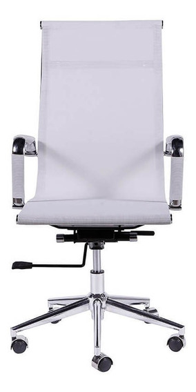 Cadeira De Escritório Alta Com Tela - Branco - Tommy Design